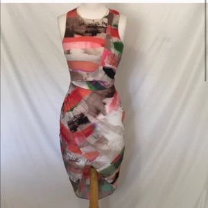 🌸 Asos multi colored high-lo dress size 4